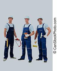 workers., промышленные, группа, профессиональный