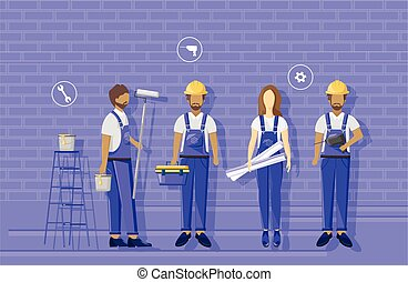 working., blueprint., visualising, helmets, синий, одежда, группа, носить, constructors, architects, команда