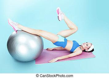 workout., женщина, exercising, мяч, фитнес, активный