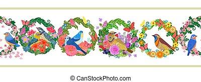 wreaths., летающий, цветочный, birds, бесшовный, горизонтальный, граница