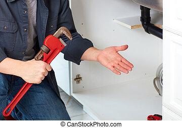 wrench., водопроводчик, руки
