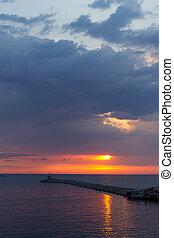 zonguldak, над, закат солнца, порт